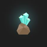 Shining crystal with stone. On stylish background. flat style design modern vector illustration Royalty Free Stock Images