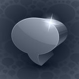 Shining 3d chat bubble symbol on grey background Stock Photos