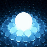 Shining 3d glass background. Big shining light and glass spheres background vector illustration