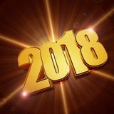 Shining 3d golden new year 2018 Stock Images