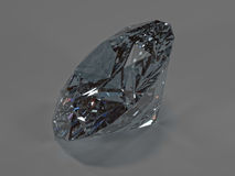Shining diamond on a gray background, side view Royalty Free Stock Photography
