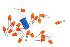 Shining diodes. Shining red, white diodes on a white background Stock Photography