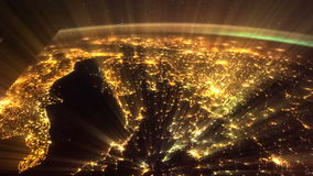 Shining Earth and Italy seen from ISS. Elements of this video furnished by NASA. Italy lit night lights