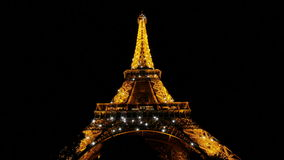 Shining Eiffel Tower At Night In Paris Stock Footage Video Of
