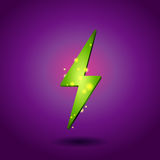 Shining electricity icon. Green energy symbol. Shining eco green electricity icon. Green energy symbol Stock Image