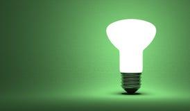 Shining ellipsoidal light bulb on green Stock Photos