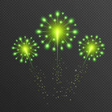 Shining emerald golden green Firework. New Year glowing light glitter design. Vector Stock Photography
