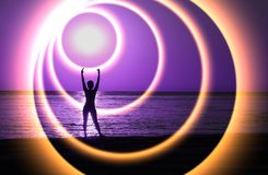 Shining energy rings around the female figure. stock photography