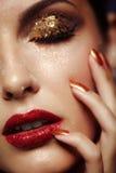 Shining face makeup. Beautiful young woman with shining face makeup Stock Photos
