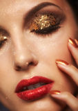 Shining face makeup. Soft focus portrait of beautiful young woman with shining face makeup Stock Images