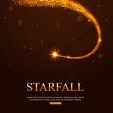Shining falling golden star in the night sky Stock Photo