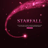Shining falling star in the night sky. Vector Royalty Free Stock Photos