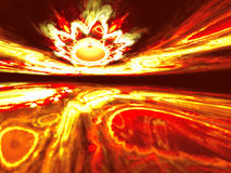 Shining a fantastic horizon alien red world. Fractal art graphics Stock Photos