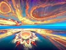 Shining fantastic orange horizon Stock Photos