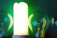 Shining fluorescent bulb Stock Photography