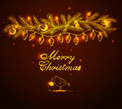 Shining garland and bird. Christmas  vector background with shining garland and bird Royalty Free Stock Images