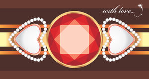 Shining gemstone with hearts. Decorative element to the Valentines day Royalty Free Stock Image