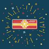 Shining gift box icon in flat style Royalty Free Stock Photos