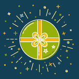 Shining gift box icon in flat style Stock Photography