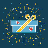 Shining gift box icon with hearts in flat style Royalty Free Stock Images