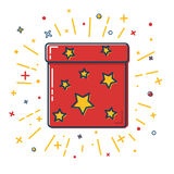 Shining gift box icon with stars in flat style Stock Photography