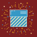 Shining gift box icon with stripes in flat style Royalty Free Stock Photography