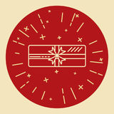 Shining gift box icon in thin line style Royalty Free Stock Photo