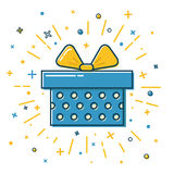 Shining Gift Box Icon With Dots In Flat Style Stock Photos