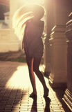 Girl. Beautiful girl with long hair flowing in the sunset Royalty Free Stock Photography
