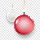 Shining glass red and white christmas baubles. Vector illustration isolated on transparent background