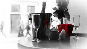 Shining glasses and Champagne in bucket waiting for love Couple Royalty Free Stock Images