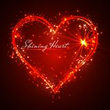 Shining glitter vector red heart.  Stock Photography