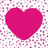 Shining glittery background with chaotic. Dots of different sizes and the big pink heart Theme and Valentines Day Idea for greetings Royalty Free Stock Image