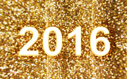 Shining and glow light bokeh number  2016  for new year theme Royalty Free Stock Photo