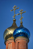 Shining Gold & Blue Cupolas of church of Our Lady in Vostryakovo Stock Photography