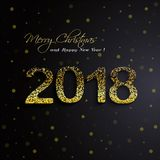 Shining gold 2018 Happy New Year on black background Royalty Free Stock Photo