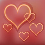 Shining gold hearts on a red background. Vector illustration of golden hearts on a red background. Design elements. Abstract background Stock Image