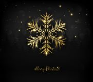 Shining gold texture Snowflake on the black. Royalty Free Stock Image