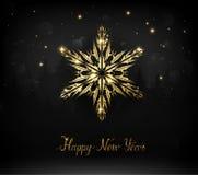 Shining gold texture Snowflake on the black. Royalty Free Stock Photos
