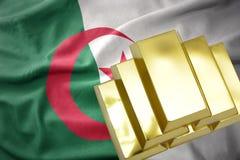 Shining golden bullions on the algeria flag. Gold reserves. shining golden bullions on the algeria flag background stock photos