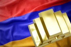Shining golden bullions on the armenian flag Stock Images