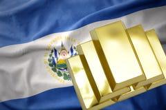 Shining golden bullions on the el salvador flag. Gold reserves. shining golden bullions on the el salvador flag background stock image