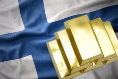 Shining golden bullions on the finland flag. Gold reserves. shining golden bullions on the finland flag background. 3D illustration Stock Photos