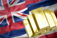 Shining golden bullions on the hawaii state flag. Gold reserves. shining golden bullions on the hawaii state flag background royalty free stock image