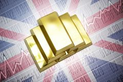 British gold reserves. Shining golden bullions lie on a british flag background Stock Image