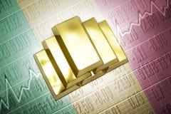 Malian gold reserves. Shining golden bullions lie on a malian flag background stock photography