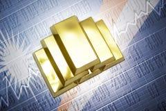 Marshall Islands gold reserves. Shining golden bullions lie on a Marshall Islands flag background Stock Photos