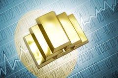 Palau gold reserves. Shining golden bullions lie on a Palau flag background Stock Photos