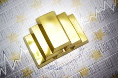 Rhode island gold reserves. Shining golden bullions lie on a rhode island state flag background Royalty Free Stock Image