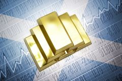 Scottish gold reserves. Shining golden bullions lie on a scottish flag background Royalty Free Stock Photo